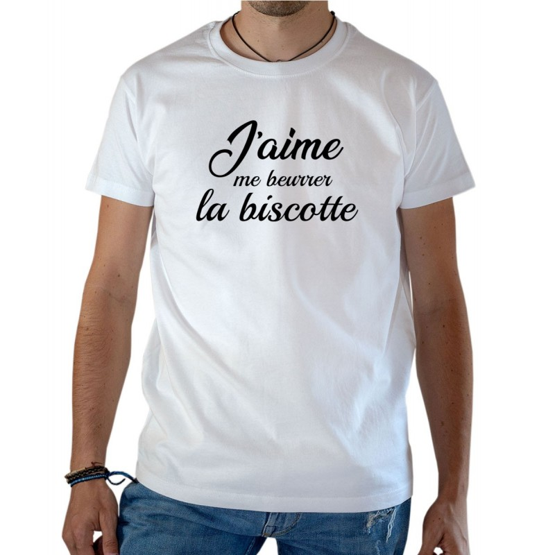 T-shirt OSS 117 J'aime me beurrer la biscotte blanc