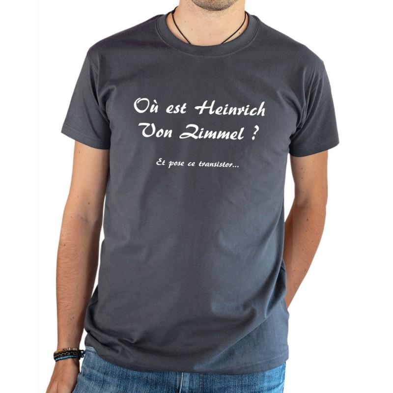 T-shirt OSS 117 Où est Heinrich Von Zimmel transistor gris
