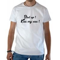 T-shirt OSS 117 Shup up kiss my ass blanc