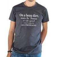 T-shirt OSS 117 La France le pays des 400 fromages gris