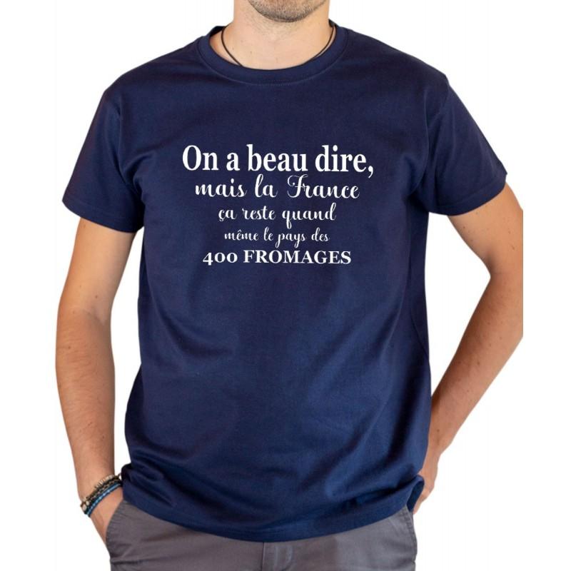 T-shirt OSS 117 La France le pays des 400 fromages bleu
