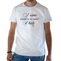 T-shirt OSS 117 J'aime quand on m'enduit d'huile blanc