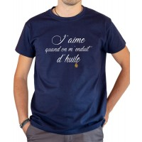 T-shirt OSS 117 J'aime quand on m'enduit d'huile bleu