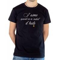 T-shirt OSS 117 J'aime quand on m'enduit d'huile noir