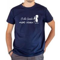 T-shirt OSS 117 Et elle gueule mon vieux poissonnière de Ménilmontant bleu